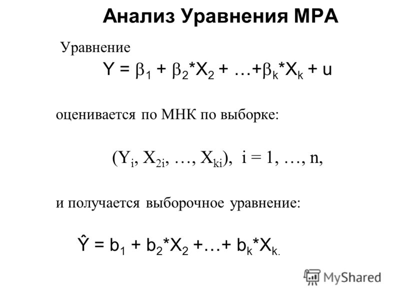 Анализ Уравнения МРА Уравнение Y = 1 + 2 *X 2 + …+ k *X k + u оценивается по МНК по выборке: (Y i, X 2i, …, X ki ), i = 1, …, n, и получается выборочное уравнение: Ŷ = b 1 + b 2 *X 2 +…+ b k *X k.