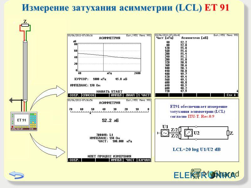 Измерение затухания асимметрии (LCL) ET 91 ELEKTR NIKA