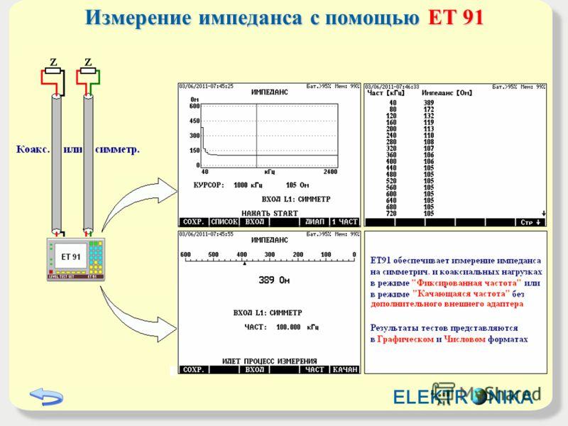 Измерение импеданса с помощью ET 91 ELEKTR NIKA