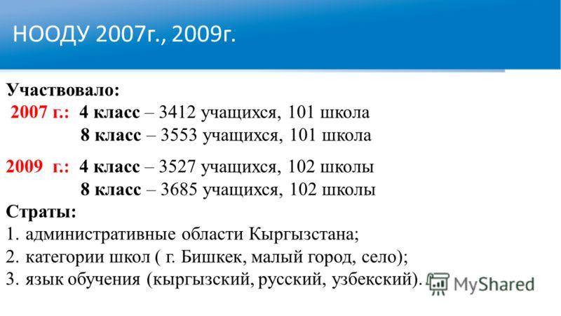 НООДУ 2007г., 2009г. Участвовало: 2007 г.: 4 класс – 3412 учащихся, 101 школа 8 класс – 3553 учащихся, 101 школа 2009 г.: 4 класс – 3527 учащихся, 102 школы 8 класс – 3685 учащихся, 102 школы Страты: 1.административные области Кыргызстана; 2.категори