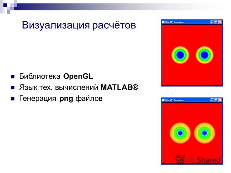 Визуализация расчётов Библиотека OpenGL Язык тех. вычислений MATLAB® Генерация png файлов