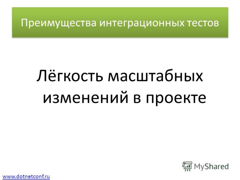 www.dotnetconf.ru Преимущества интеграционных тестов Лёгкость масштабных изменений в проекте