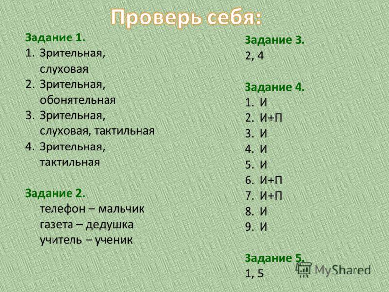 Задание 1. 1.Зрительная, слуховая 2.Зрительная, обонятельная 3.Зрительная, слуховая, тактильная 4.Зрительная, тактильная Задание 2. телефон – мальчик газета – дедушка учитель – ученик Задание 3. 2, 4 Задание 4. 1.И 2.И+П 3.И 4.И 5.И 6.И+П 7.И+П 8.И 9