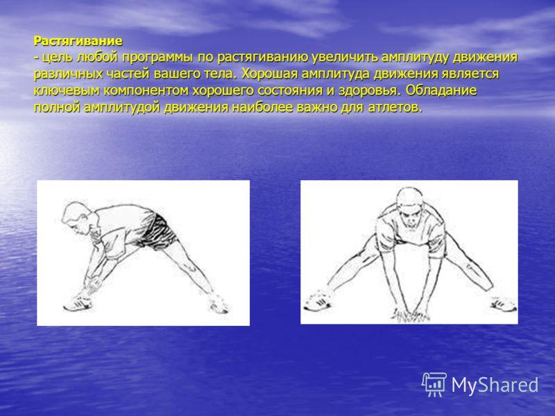 Растягивание - цель любой программы по растягиванию увеличить амплитуду движения различных частей вашего тела. Хорошая амплитуда движения является ключевым компонентом хорошего состояния и здоровья. Обладание полной амплитудой движения наиболее важно