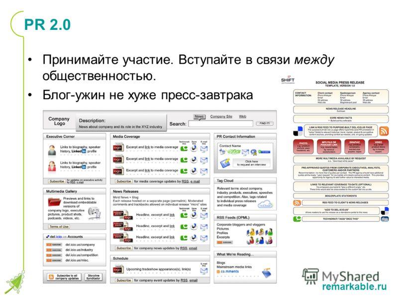 remarkable.ru PR 2.0 Принимайте участие. Вступайте в связи между общественностью. Блог-ужин не хуже пресс-завтрака