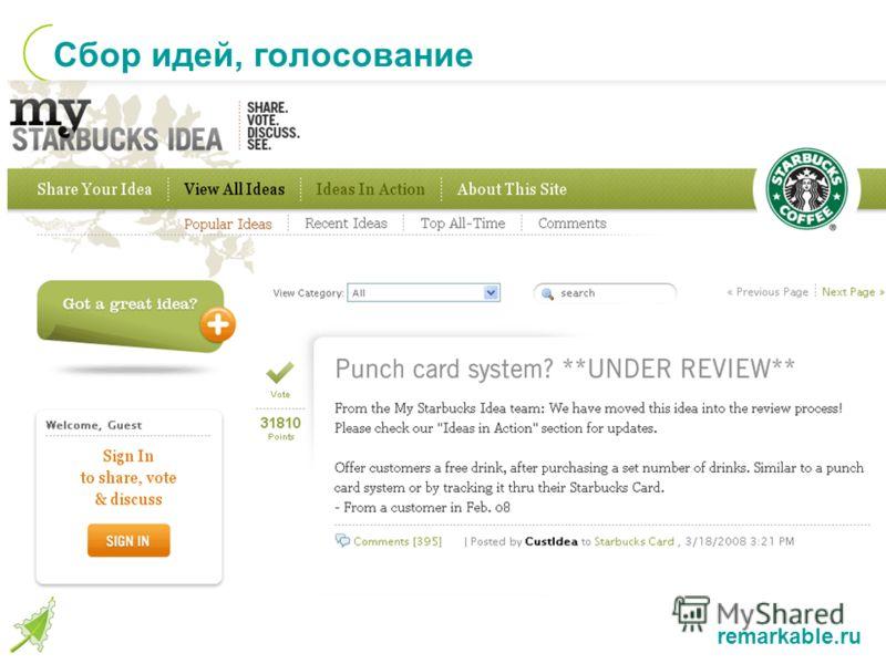 remarkable.ru Сбор идей, голосование