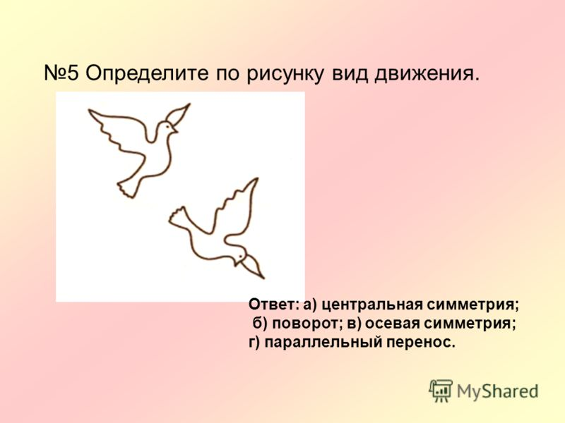 5 Определите по рисунку вид движения. Ответ: а) центральная симметрия; б) поворот; в) осевая симметрия; г) параллельный перенос.