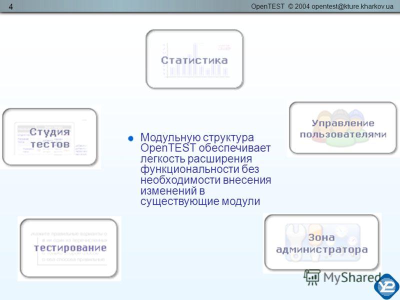 OpenTEST © 2004 opentest@kture.kharkov.ua 4 Модульную структура OpenTEST обеспечивает легкость расширения функциональности без необходимости внесения изменений в существующие модули