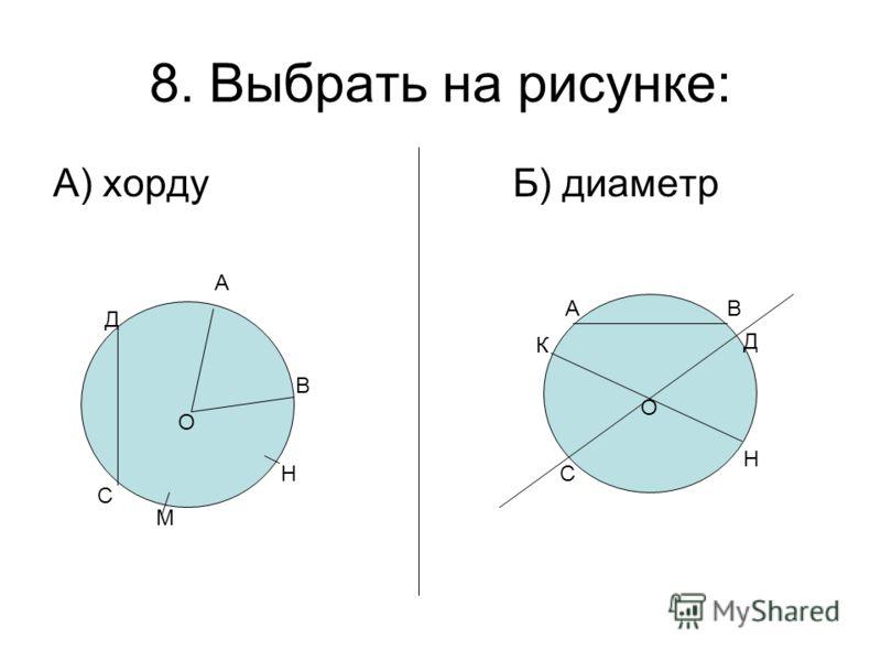 8. Выбрать на рисунке: А) хорду Б) диаметр С Д О А В Н М О АВ К Д С Н