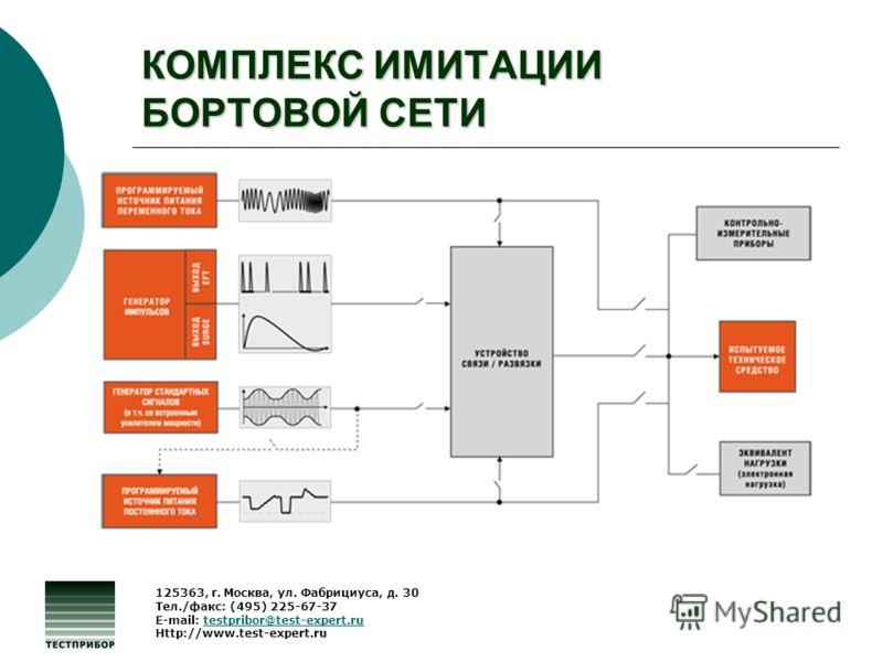 КОМПЛЕКС ИМИТАЦИИ БОРТОВОЙ СЕТИ 125363, г. Москва, ул. Фабрициуса, д. 30 Тел./факс: (495) 225-67-37 E-mail: testpribor@test-expert.rutestpribor@test-expert.ru Http://www.test-expert.ru