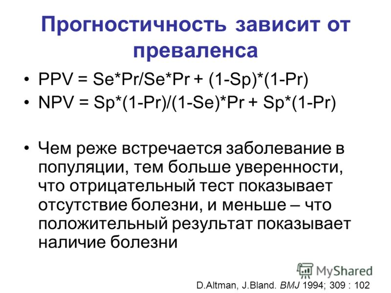 Прогностичность зависит от преваленса PPV = Se*Pr/Se*Pr + (1-Sp)*(1-Pr) NPV = Sp*(1-Pr)/(1-Se)*Pr + Sp*(1-Pr) Чем реже встречается заболевание в популяции, тем больше уверенности, что отрицательный тест показывает отсутствие болезни, и меньше – что п
