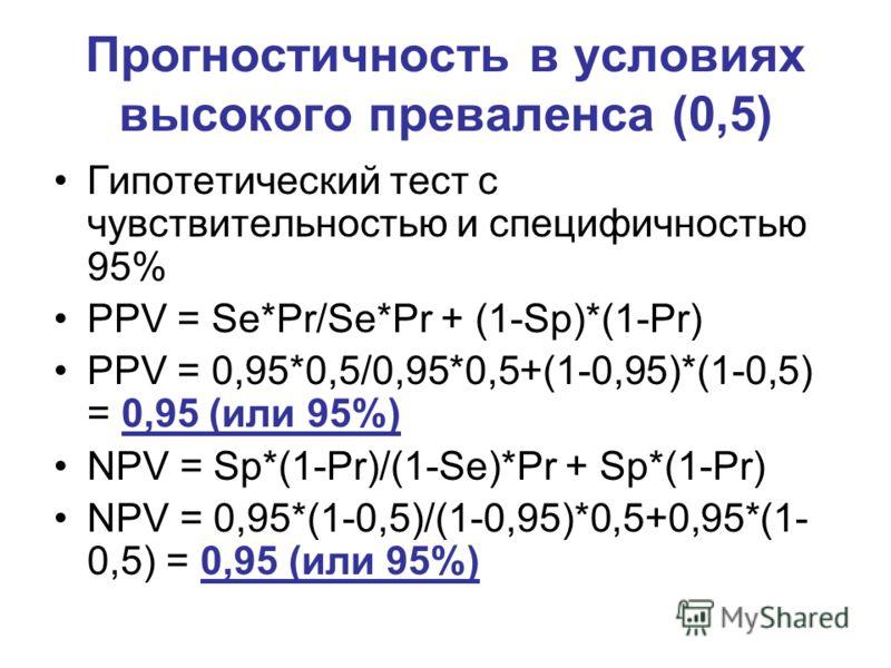 Прогностичность в условиях высокого преваленса (0,5) Гипотетический тест с чувствительностью и специфичностью 95% PPV = Se*Pr/Se*Pr + (1-Sp)*(1-Pr) PPV = 0,95*0,5/0,95*0,5+(1-0,95)*(1-0,5) = 0,95 (или 95%) NPV = Sp*(1-Pr)/(1-Se)*Pr + Sp*(1-Pr) NPV =