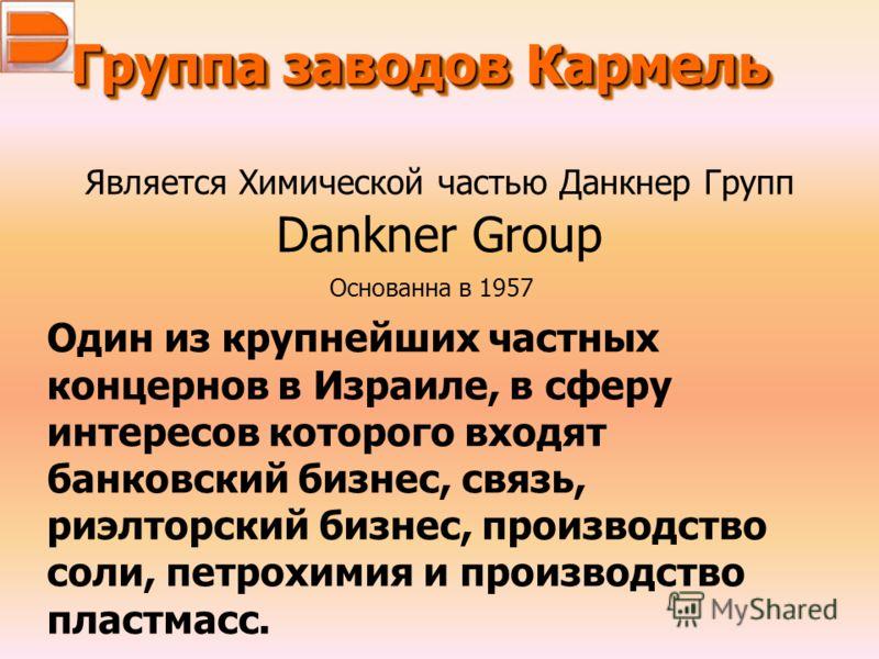 Группа заводов Кармель Является Химической частью Данкнер Групп Dankner Group Один из крупнейших частных концернов в Израиле, в сферу интересов которого входят банковский бизнес, связь, риэлторский бизнес, производство соли, петрохимия и производство