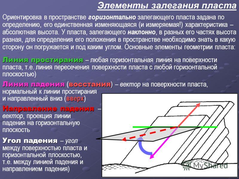 Элементы залегания пласта Линия простирания Линия простирания – любая горизонтальная линия на поверхности пласта, т.е. линия пересечения поверхности пласта с любой горизонтальной плоскостью) Направление падения Направление падения – вектор, проекция