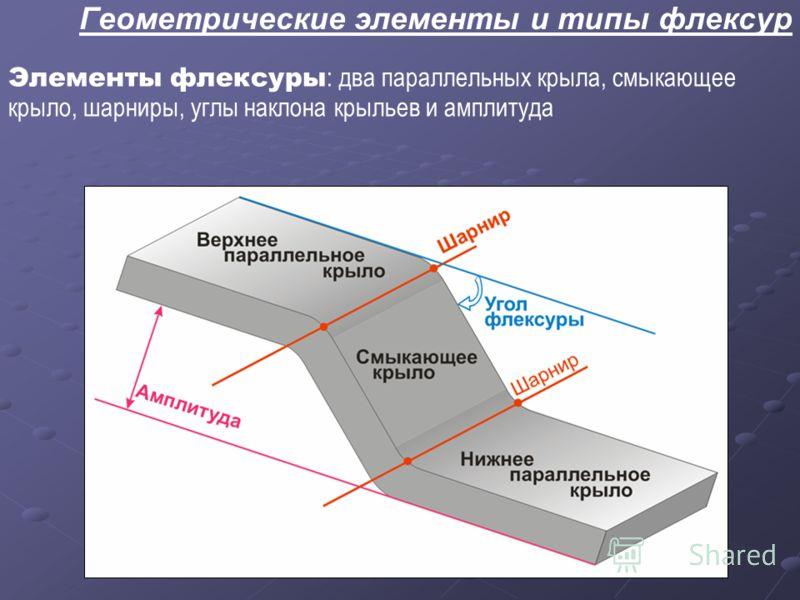 Геометрические элементы и типы флексур Элементы флексуры : два параллельных крыла, смыкающее крыло, шарниры, углы наклона крыльев и амплитуда