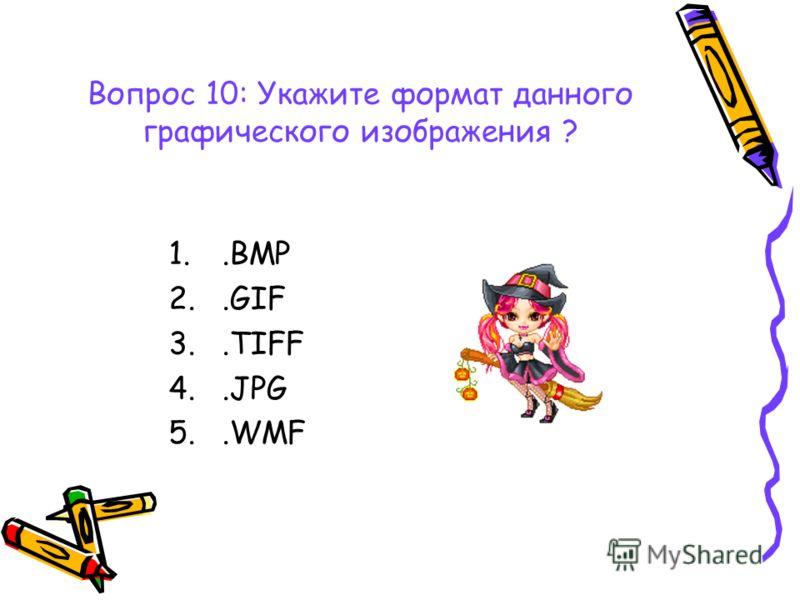 Вопрос 10: Укажите формат данного графического изображения ? 1..BMP 2..GIF 3..TIFF 4..JPG 5..WMF