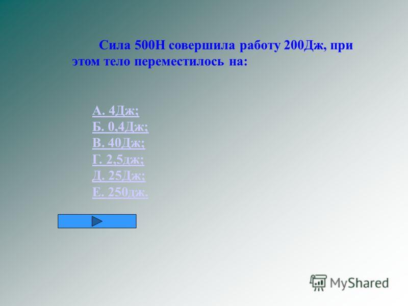 Сила 500Н совершила работу 200Дж, при этом тело переместилось на: А. 4Дж; Б. 0,4Дж; В. 40Дж; Г. 2,5дж; Д. 25Дж; Е. 250дж.