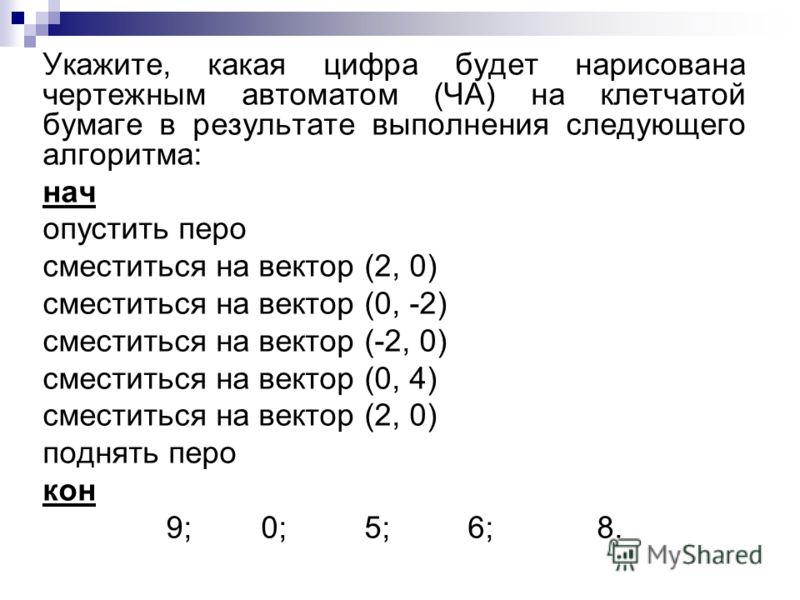 Укажите, какая цифра будет нарисована чертежным автоматом (ЧА) на клетчатой бумаге в результате выполнения следующего алгоритма: нач опустить перо сместиться на вектор (2, 0) сместиться на вектор (0, -2) сместиться на вектор (-2, 0) сместиться на век