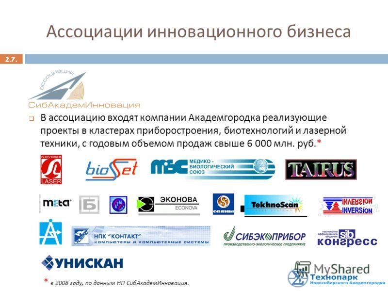 2.7. Ассоциации инновационного бизнеса В ассоциацию входят компании Академгородка реализующие проекты в кластерах приборостроения, биотехнологий и лазерной техники, с годовым объемом продаж свыше 6 000 млн. руб.* * в 2008 году, по данным НП СибАкадем
