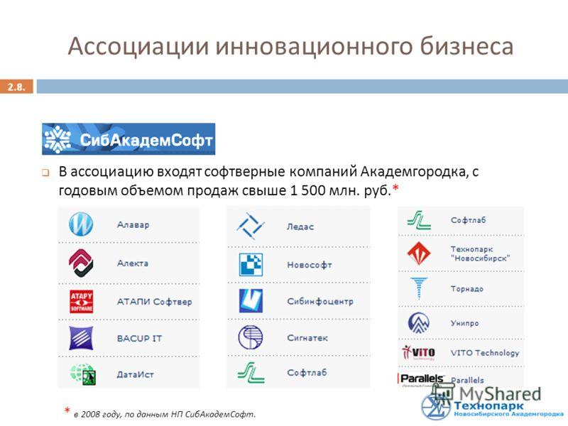 2.8. Ассоциации инновационного бизнеса В ассоциацию входят софтверные компаний Академгородка, с годовым объемом продаж свыше 1 500 млн. руб.* * в 2008 году, по данным НП СибАкадемСофт.