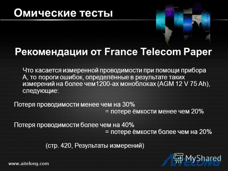 www.aitelong.com Омические тесты Рекомендации от France Telecom Paper Что касается измеренной проводимости при помощи прибора А, то пороги ошибок, определённые в результате таких измерений на более чем1200-ах моноблоках (AGM 12 V 75 Ah), следующие: П