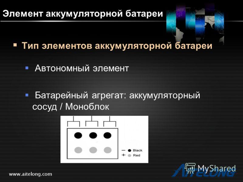 www.aitelong.com Элемент аккумуляторной батареи Тип элементов аккумуляторной батареи Автономный элемент Батарейный агрегат: аккумуляторный сосуд / Моноблок