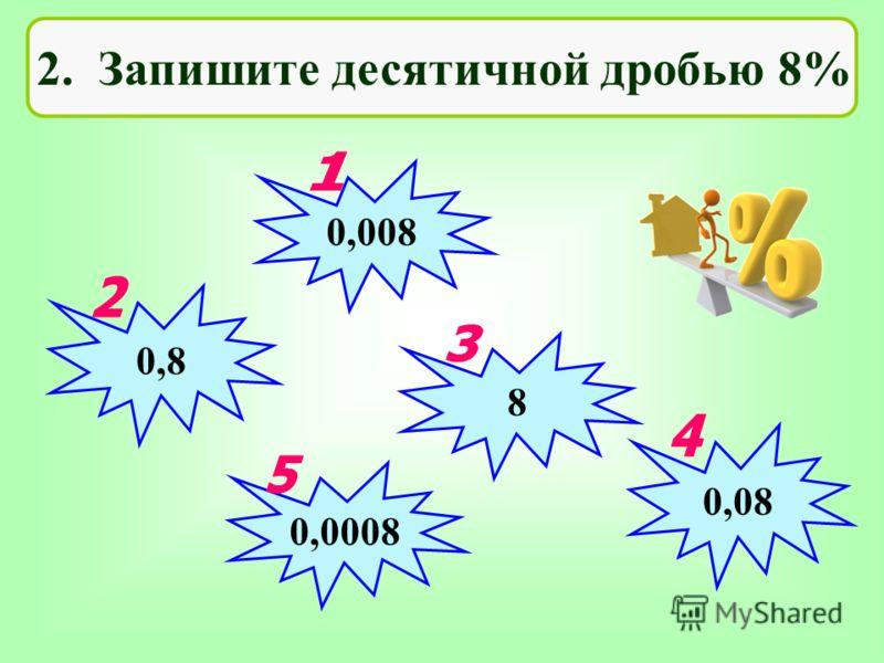 2. Запишите десятичной дробью 8% 0,008 0,8 0,0008 0,08 8