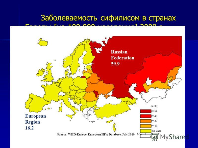 Заболеваемость сифилисом в странах Европы [на 100 000 населения] 2008 г. Заболеваемость сифилисом в странах Европы [на 100 000 населения] 2008 г.