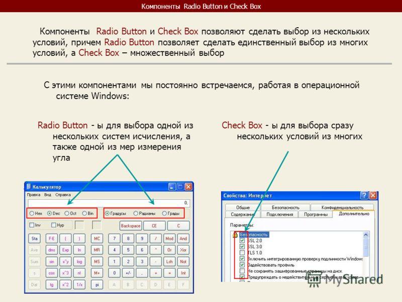 Компоненты Radio Button и Check Box Компоненты Radio Button и Check Box позволяют сделать выбор из нескольких условий, причем Radio Button позволяет сделать единственный выбор из многих условий, а Check Box – множественный выбор С этими компонентами