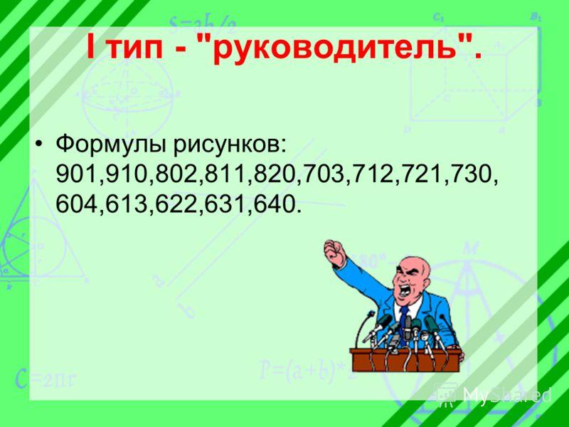 I тип - руководитель. Формулы рисунков: 901,910,802,811,820,703,712,721,730, 604,613,622,631,640.
