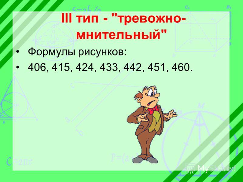III тип - тревожно- мнительный Формулы рисунков: 406, 415, 424, 433, 442, 451, 460.