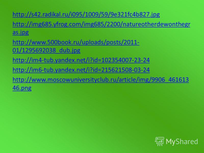 http://s42.radikal.ru/i095/1009/59/9e321fc4b827.jpg http://img685.yfrog.com/img685/2200/natureotherdewonthegr as.jpg http://www.500book.ru/uploads/posts/2011- 01/1295692038_dub.jpg http://im4-tub.yandex.net/i?id=102354007-23-24 http://im6-tub.yandex.