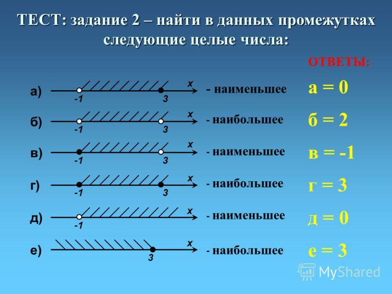 ТЕСТ: задание 2 – найти в данных промежутках следующие целые числа: д) х е) 3 х a) 3 х б) 3 х в) 3 х г) 3 х - наименьшее - наибольшее - наименьшее - наибольшее - наименьшее - наибольшее ОТВЕТЫ: а = 0 б = 2 в = -1 г = 3 д = 0 е = 3