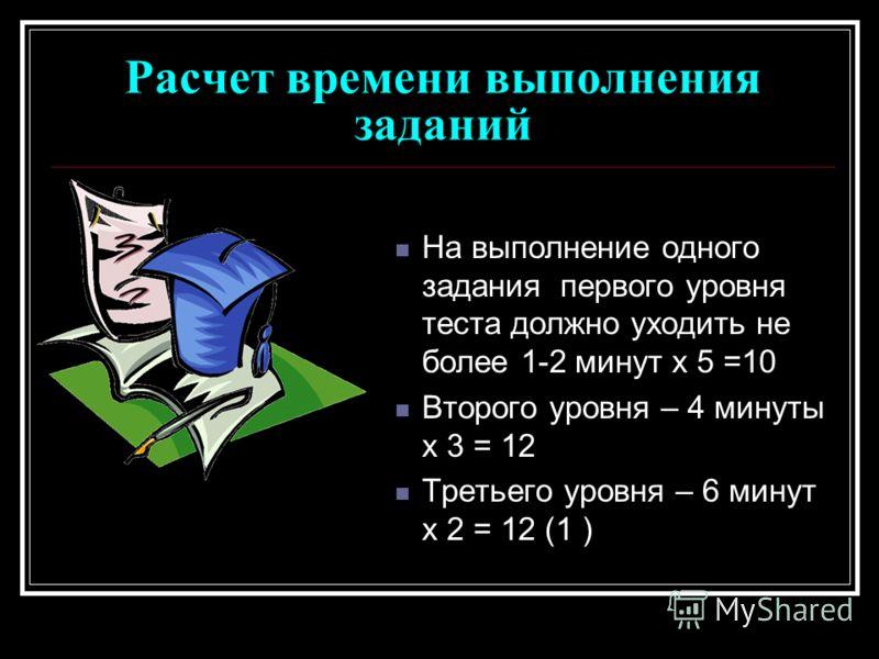 Расчет времени выполнения заданий На выполнение одного задания первого уровня теста должно уходить не более 1-2 минут х 5 =10 Второго уровня – 4 минуты х 3 = 12 Третьего уровня – 6 минут х 2 = 12 (1 )