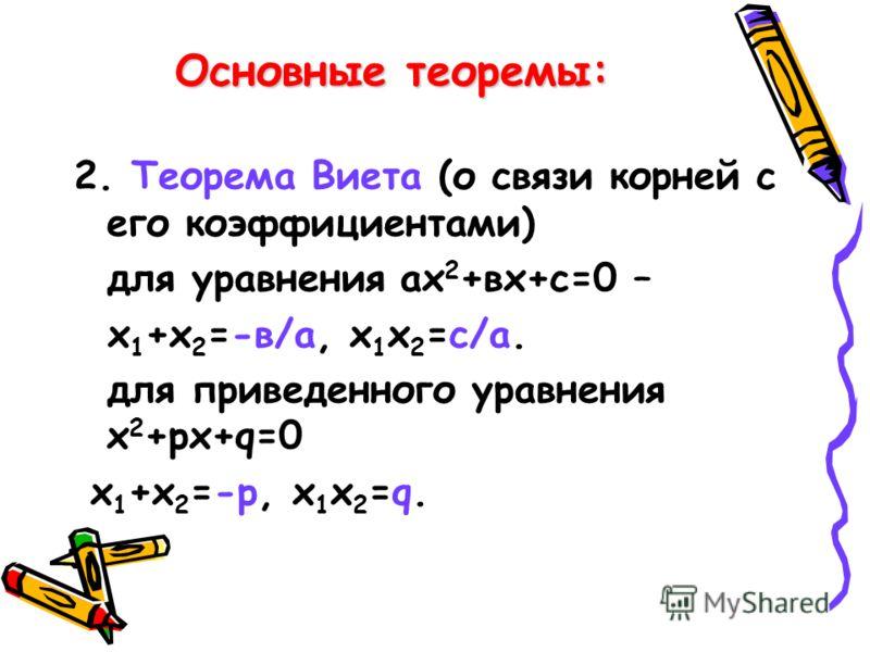 Основные теоремы: 2. Теорема Виета (о связи корней с его коэффициентами) для уравнения ах 2 +вх+с=0 – х 1 +х 2 =-в/а, х 1 х 2 =с/а. для приведенного уравнения х 2 +рх+q=0 х 1 +х 2 =-р, х 1 х 2 =q.