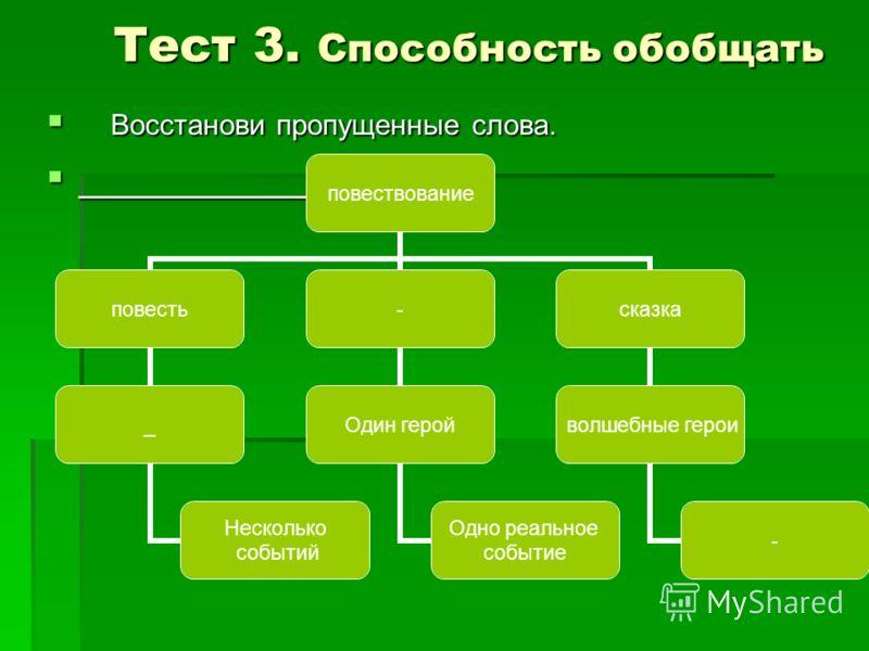 Тест 3. Способность обобщать Тест 3. Способность обобщать Восстанови пропущенные слова. Восстанови пропущенные слова. __________________ __________________ повествование повесть _ Несколько событий - Один герой Одно реальное событие сказка волшебные