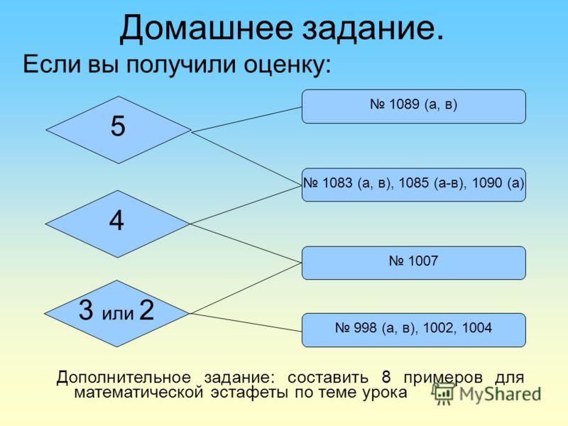Домашнее задание. Если вы получили оценку: 4 3 или 2 5 1089 (а, в) 1083 (а, в), 1085 (а-в), 1090 (а) 1007 998 (а, в), 1002, 1004 Дополнительное задание: составить 8 примеров для математической эстафеты по теме урока