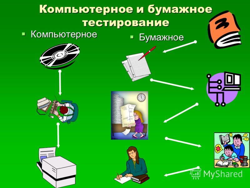 Компьютерное и бумажное тестирование Компьютерное Компьютерное Бумажное Бумажное