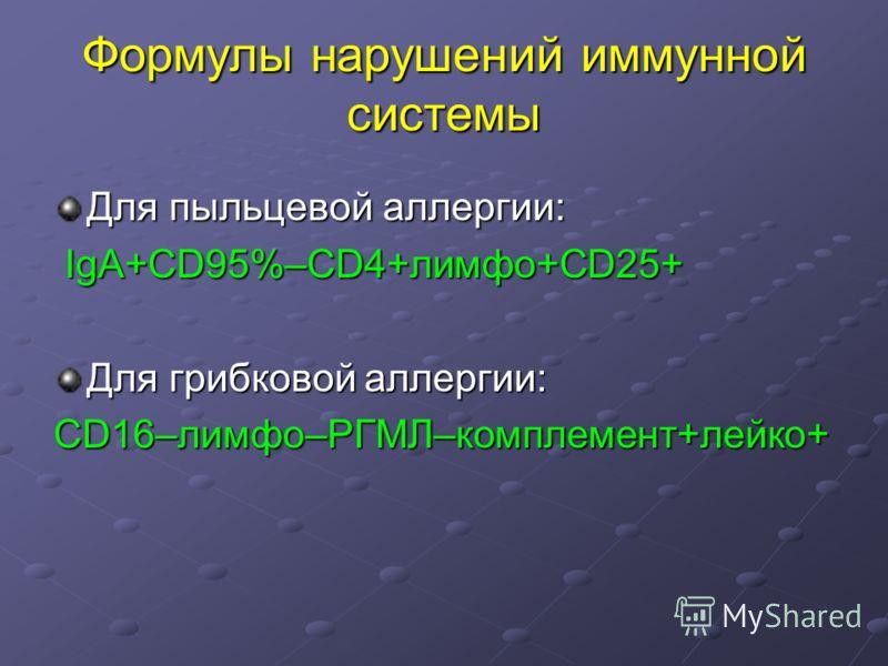 Формулы нарушений иммунной системы Для пыльцевой аллергии: IgA+CD95%–CD4+лимфо+CD25+ IgA+CD95%–CD4+лимфо+CD25+ Для грибковой аллергии: CD16–лимфо–РГМЛ–комплемент+лейко+