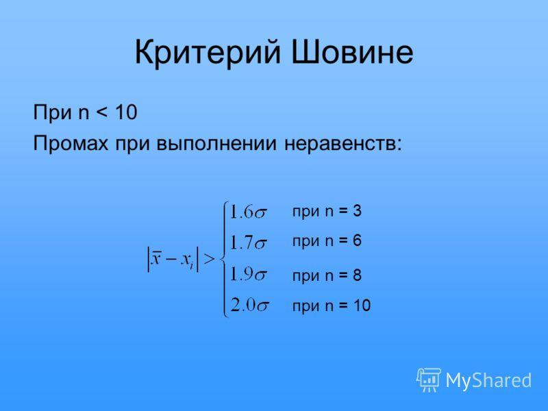 Критерий Шовине При n < 10 Промах при выполнении неравенств: при n = 3 при n = 6 при n = 8 при n = 10