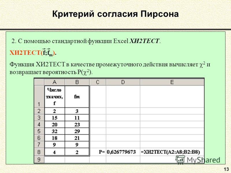 13 Критерий согласия Пирсона 2. С помощью стандартной функции Excel ХИ2ТЕСТ. ХИ2ТЕСТ(f;f m ). Функция ХИ2ТЕСТ в качестве промежуточного действия вычисляет 2 и возвращает вероятность P( 2 ).