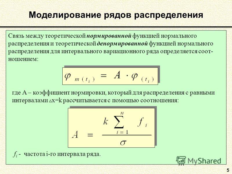 5 Моделирование рядов распределения Связь между теоретической нормированной функцией нормального распределения и теоретической денормированной функцией нормального распределения для интервального вариационного ряда определяется соот- ношением: где А