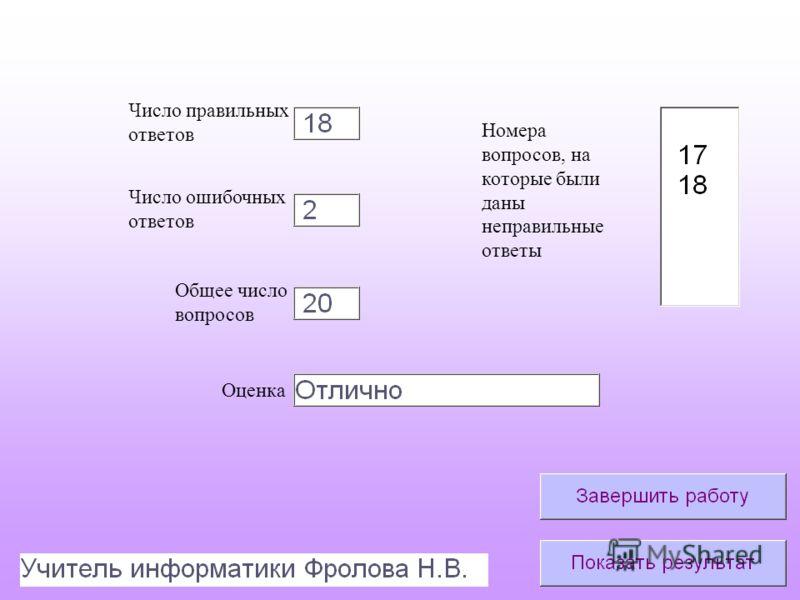 Число правильных ответов Число ошибочных ответов Общее число вопросов Оценка Номера вопросов, на которые были даны неправильные ответы