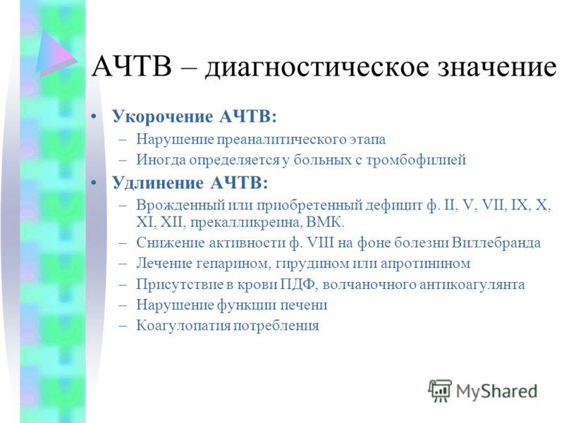 АЧТВ – диагностическое значение Укорочение АЧТВ: –Нарушение преаналитического этапа –Иногда определяется у больных с тромбофилией Удлинение АЧТВ: –Врожденный или приобретенный дефицит ф. II, V, VII, IX, X, XI, XII, прекалликреина, ВМК. –Снижение акти