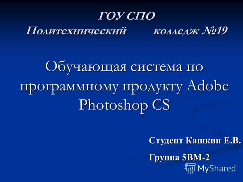 ГОУ СПО Политехнический колледж 19 Обучающая система по программному продукту Adobe Photoshop CS Студент Кашкин Е.В. Группа 5ВМ-2