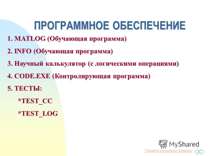 Перейти на первую страницу ПРОГРАММНОЕ ОБЕСПЕЧЕНИЕ 1. MATLOG (Обучающая программа) 2. INFO (Обучающая программа) 3. Научный калькулятор (с логическими операциями) 4. CODE.EXE (Контролирующая программа) 5. ТЕСТЫ: *TEST_CC *TEST_CC *TEST_LOG *TEST_LOG
