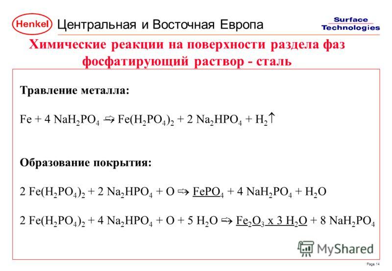 Центральная и Восточная Европа Page 14 Травление металла: Fe + 4 NaH 2 PO 4 Fe(H 2 PO 4 ) 2 + 2 Na 2 HPO 4 + H 2 Образование покрытия: 2 Fe(H 2 PO 4 ) 2 + 2 Na 2 HPO 4 + O FePO 4 + 4 NaH 2 PO 4 + H 2 O 2 Fe(H 2 PO 4 ) 2 + 4 Na 2 HPO 4 + O + 5 H 2 O F