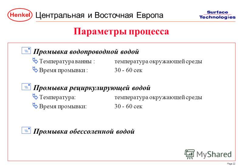 Центральная и Восточная Европа Page 22 Параметры процесса + Промывка водопроводной водой Температура ванны :температура окружающей среды Время промывки :30 - 60 сек + Промывка рециркулирующей водой Температура:температура окружающей среды Время промы
