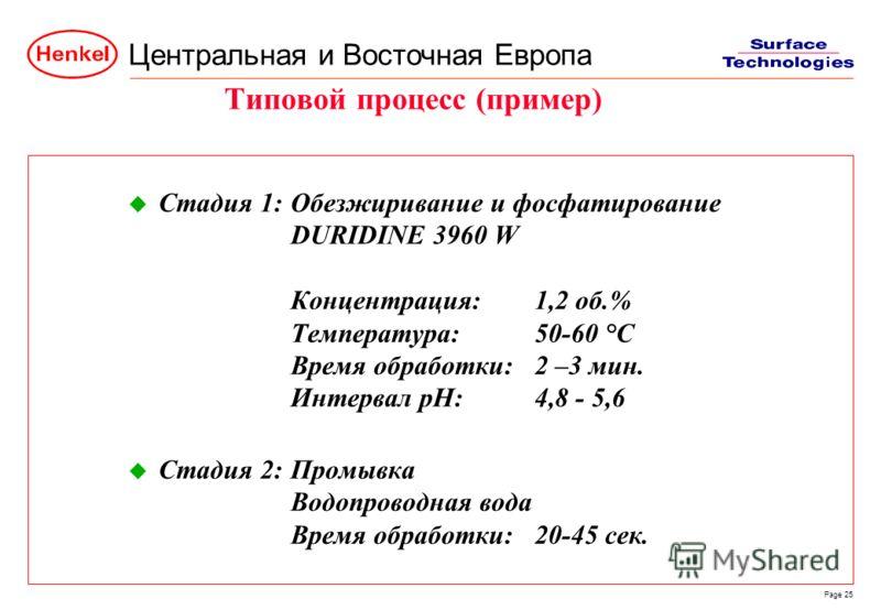 Центральная и Восточная Европа Page 25 u Стадия 1:Обезжиривание и фосфатирование DURIDINE 3960 W Концентрация:1,2 об.% Температура:50-60 °C Время обработки:2 –3 мин. Интервал pH:4,8 - 5,6 u Стадия 2:Промывка Водопроводная вода Время обработки:20-45 с