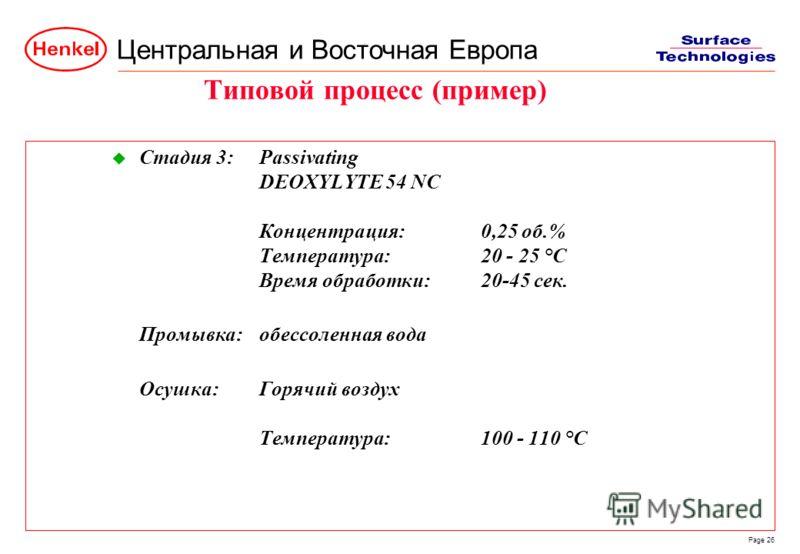 Центральная и Восточная Европа Page 26 u Стадия 3:Passivating DEOXYLYTE 54 NC Концентрация:0,25 об.% Температура:20 - 25 °C Время обработки:20-45 сек. Промывка:обессоленная вода Осушка:Горячий воздух Температура:100 - 110 °C Типовой процесс (пример)